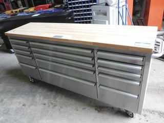 """NEW 72"""" Stainless Steel 15 Drawer Tool Bench"""