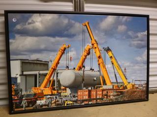 "Framed Canvas Print - Four Crane Lift, 36"" x 33"" (WW)"