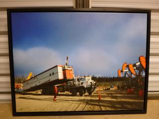 "Framed Canvas - Building a Camp, 34"" x 26"" (SW)"