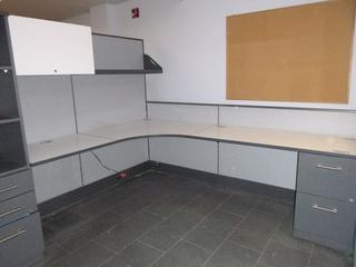 2-Person Office Cubicle (8ft x 6ft Each desk) c/w Partitions, File Cabinets, Upper Shelf, Upper Locking Storage Cabinet