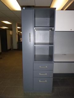 """Wardrobe Tower c/w 3-Drawer. 3-Shelves, (24"""" x 23"""" x 64""""), *NOTE: No Key (WW-6-1)"""