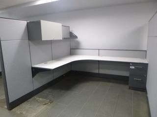 "3-Desktop Office Cubicle (6' x 8') c/w (2)-54"" x 70"" Partition, (2)-54"" x 37"" Partition, Locking Upper Cabinet, Shelf"