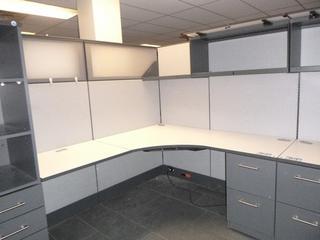 "2-Desktop Office Cubicle (6' x 66"") c/w 2-Drawer File Cabinet, Upper Lock Cabinet, Shelf, (4) Partitions (W-3-1-2)"