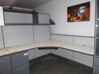 """2-Desktop Office Cubicle (6' x 66"""") c/w Upper Cabinet, Shelf, (4) Partitions (E5-5-2)"""