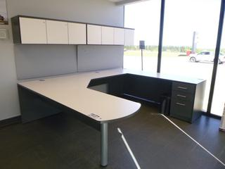 3-Section Office Desk (9ft x 7ft) c/w 3-Drawer File Cabinet, 2-Upper Locking Storage Cabinet