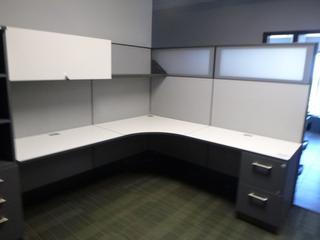 3-Section Cubicle (7ft x 7ft) c/w 2-Drawer File Cabinet, Wardrobe Tower, Upper Locking Storage Cabinet (E5-4-2)