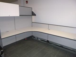 3-Section Desk Cubicle c/w Upper Storage Cabinet, SHelf, & Partitions (EE-3-3-1)