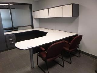3-Section Office Desk (9ft x 7ft) c/w 3-Drawer File Cabinet, 2-Upper Locking Storage Cabinet, *NOTE: Content/Chairs Not Included (W1-1-1)