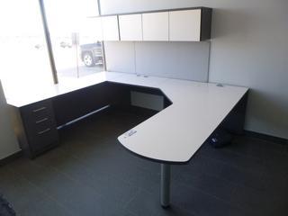 3-Section Office Desk (7'x9') c/w 3-Drawer File Cabinet, Upper Storage Cabinet (E4-5-3)