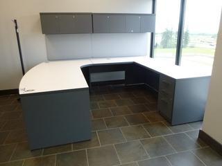 Office Desk Unit (7'x9') w/ 3-Drawer File Cabinet, Upper Shelf Storage Cabinet