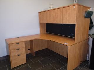 "Corner Desk w/ Upper Cabinet c/w 3-Drawer File Cabinet, (65"" x 65"" x 64"") (W-2-1-1)"
