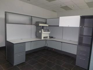 """2-Person Office Cubicle w/ 7'x7' 3-Section Desk, 36"""" Desk Top, (2) 3-Drawer File Cabinets, (2) Wardrobe Tower, Partitions (W-3-2-2) (WW-6-1)"""