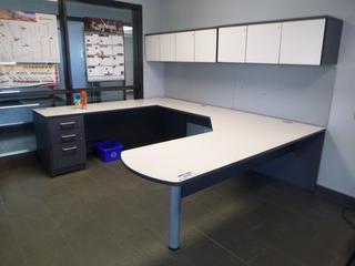 3-Section Office Desk (9ft x 7ft) c/w 2-Upper Locking Storage Cabinet, 3-Drawer File Cabinet *NOTE: Damaged* (E5-2-2)