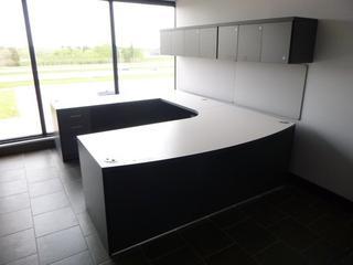 Office Desk Unit (7' x 9') c/w 3-Drawer File Cabinet, 4-lock Upper Cabinet (E5-2-1)
