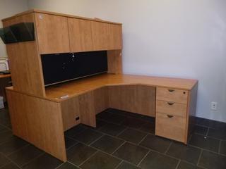 "Corner Desk w/ Upper Cabinet c/w 3-Drawer File Cabinet, (65"" x 65"" x 64"") (W-2-2-2)"