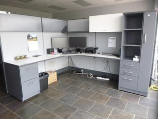 2-Person Office Cubicle c/w (2) 7'x7' 3-Section Desk, (2) 3-Drawer File Cabinet, (2) Wardrobe Tower, Partitions, *Does not include content on desk* (EE3-3-2)(E-5-3-2)(WW-5-3)