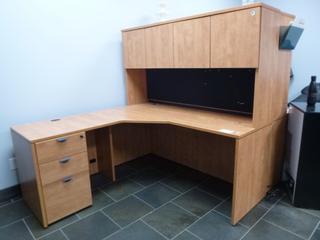 """Corner Desk w/ Upper Cabinet c/w 3-Drawer File Cabinet, (65"""" x 65"""" x 64"""") (E3-3-3)"""