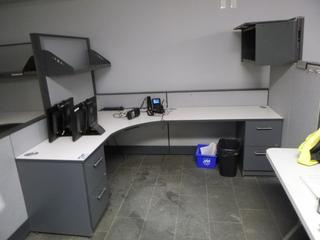 3-Section Office Cubicle c/w (2) 3-Drawer File Cabinet, Upper Storage Cabinet, Upper Shelf (W-3-1-1)