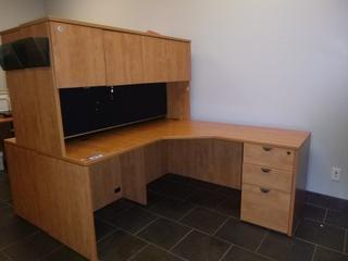 """Corner Desk w/ Upper Cabinet c/w 3-Drawer File Cabinet, (65"""" x 65"""" x 64"""") (E3-3-2)"""