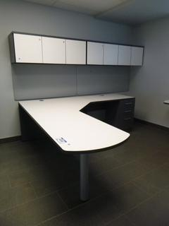 2-Section Office Desk (7ft x 7ft) c/w 3-Drawer File Cabinet, 2-Upper Storage Cabinets (W-2-2-1)