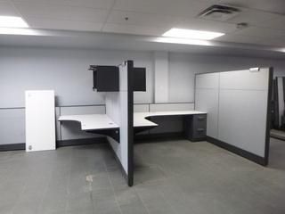 2-Person Office Cubicle c/w Partitions, Shelf, Upper Cabinet, 2-Drawer Filing Cabinet, (8ft x 6ft Each desk) (E4-2-2) (W-2-1-2)