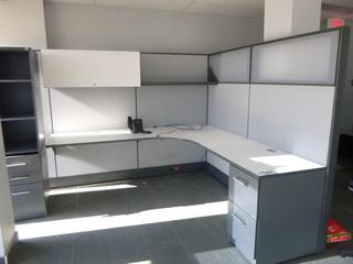 Office Cubicle w/ 3-Section Desk (7ft x 7ft) c/w Wardrobe Tower, 2-Drawer File Cabinet, Upper Locking Cabinet, Shelf, 4-Partition Walls (WW-5-2) (W-3-1-3)