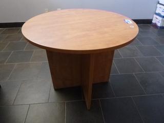 "36"" Round Oak Veneer Table 29"" Height (E4-2-3)"