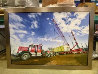 "Framed Canvas, Entrac Crane Unloading a Building, 80 1/4"" x 56 1/4"""