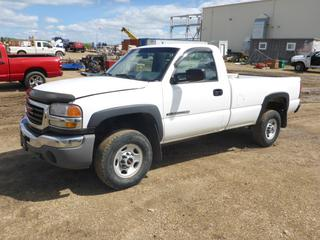 2006 GMC Sierra 2500, c/w 6.0L, A/T, A/C, Showing 301,894 KMS, 8' Box, 2WD, Hitch Receiver, 245/75R16 Tires At 55%, VIN 1GTHC24U06E287466