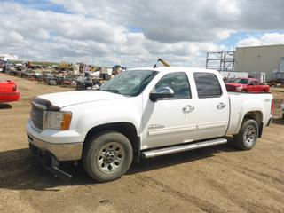 "2011 GMC Sierra 4X4 Crew Cab, c/w 4.8L, A/T, A/C, Showing 308,865 KMS,  5'11"" Box, Hitch Receiver, 245/70R17 Tires At 60%, Rears At 40%, VIN 3GTP2UEA5BG351373"