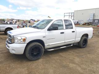 "2007 Dodge Ram 1500 Laramie 4X4 Extended Cab, c/w 5.7L, A/T, A/C, Showing 243,823 KMS, 6'5"" Box, Hitch Receiver, 5th Wheel Rails Installed, 275/65R18 Tires At 50%, VIN 1D7HU18257J505125"