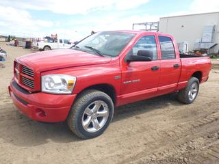 "2007 Dodge Ram 1500 Sport 4X4 Crew Cab, c/w 5.7L, A/T, A/C, Showing 262,625 KMS, 6'5"" Box, Hitch Receiver, 275/60R20 Tires At 70%, VIN 1D7HU182X7J529467"
