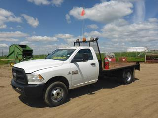 "2013 Dodge Ram 3500 HD 4X4 Flat Deck Truck c/w 6.7L  Cummins Turbo, Diesel, A/T, A/C, Showing 47,591.3 KMS, 4,204 Hours, GVWR 5,897 KG, 167"" W/B, 11' x 8' Deck, 265/70R 17 Tires At 70%, Dually Rear Tires At 90%, Front Axle Rating 2,495, Rear Axle Rating 4,242 KG, VIN 3C7WRTBL3DG515555"