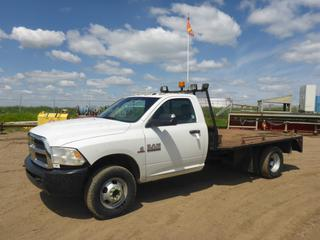 "2013 Dodge Ram 3500 4X4 Flat Deck Truck c/w 6.7L  Cummins Turbo, Diesel, A/T, A/C, Showing 77,486 KMS, 173"" W/B, 11'5"" x 8' Deck, 265/70R17 Tires At 70%, Dually Rear Axle, VIN 3C7WRTBL9DG570611"