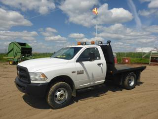 "2014 Dodge Ram 3500 4X4 Flat Deck Truck c/w 6.4L Hemi Gas, A/T, A/C, Leather, Showing 85,125 KMS, 7,771 Hours, GVWR 14,000 LB, 150"" W/B, 9' x 7'8"" Deck, 265/70R17 Tires At 70%, Front Axle Rating 5,500 LB, Dually Rear Axle Rating 9,850 LB, VIN 3C7WRTAJ9EG166144"