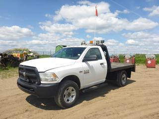 "2014 Dodge Ram 3500 4X4 Flat Deck Truck c/w 6.4L Hemi, Gas, A/T, A/C, Leather Showing 67,467 KMS, 5,713 Hours, 145"" W/B, 9'6"" x 7' Deck, 275/70R18 Tires, VIN 3C7WR9AJ9EG248684"