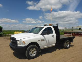 "2014 Dodge Ram 3500 HD 4X4 Flat Deck Truck c/w 6.4L Hemi, Gas, A/T, A/C, Leather, Showing 69,069 KMS, 7,040 Hours, GVWR 4,763 KG, 142"" W/B, 8'7"" x 7' Deck, 265/70R18 Tires At 85%, Front Axle Rating 2,495 KG, Rear Axle Rating 3,085 KG, VIN 3C7WR9AT7EG143658"