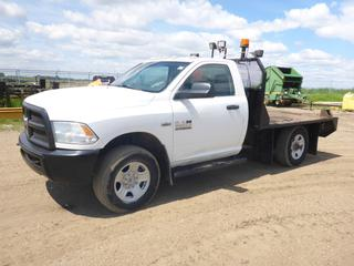 2014 Dodge Ram 3500 4X4 Flat Deck Truck c/w Hemi 5.7L, Gas, A/T, A/C, Leather, Showing 75,348 KMS, 7,709 Hours, GVWR 4,763 KG, 9' x 7' Deck, 265/70R18 Tires At 70%, Front Axle Rating 2,495 KG, Rear Axle Rating 3,085 KG, VIN 3C7WR9AT4EG252823 *NOTE: Check Engine Light on*