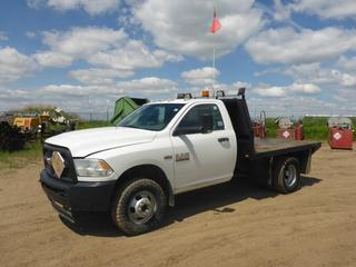 "2014 Dodge Ram 3500 HD 4X4 Flat Deck Truck c/w Hemi 6.4L, Gas, A/T, A/C, Leather, Showing 85,286 KMS, 7,114 Hours, GVWR 6,351 KG, 142"" W/B, 9'5"" x 8' Deck, 235/80R17 Tires At 60%, Front Axle Rating 2,495 KG, Dually Rear Axle Rating 4,468 KG, VIN 3C7WRTAJ7EG166143"
