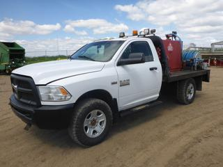 "2014 Dodge Ram 3500 HD 4X4 Flat Deck Truck c/w Hemi 6.4L, Gas, A/T, A/C, Leather, Showing 90,234 KMS, 7,818 Hours, GVWR 4,990 KG, 143"" W/B, 9'6"" x 7' Deck, 275/70R18 Tires, Front Axle Rating 2,495 KG, Rear Axle Rating 3,085 KG, VIN 3C7WR9AJ2EG240930, C/w 1100 lt Fuel Tank, GPI MR5-30 Fuel Meter, Fuel Nozzle, Hose + Hose Reel, GPI Fuel Transfer Pump."