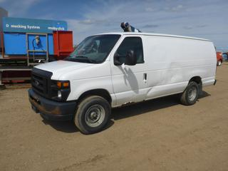 "2012 Ford E-Series Cargo Van c/w 4.6L, A/T, A/C, Gas, Showing 169,367 KMS, GVWR 4037KG, 138"" W/B, Flex Fuel, Side Door, Rear Door, 245/75R16 Tires At 80%, Front Axle Rating 1,678KG, Rear Axle Rating 2,504KG, VIN 1FTNS2EW0CDA74556 *NOTE: Engine Runs, Transmission Issues, Minor Dent Left Side and Rear Bumper*"
