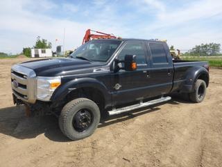 2014 Ford F350 Lariat 4X4 Crew Cab, c/w 6.7L Diesel, A/T, A/C, Showing 324,416 KMS, Fully Loaded, Leather, Power Sunroof, 8' Box, Dually, Reese 5th Wheel Hitch, Rear Hitch Receiver, 265/70R17 Tires At 55%, VIN 1FT8W3DT5EEA81434 *NOTE: Not Running, Engine Does Not Turn Over, Missing Front Bumper*