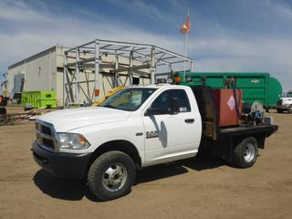 "2014 Dodge Ram 3500 4X4 Flat Deck Truck c/w Hemi 6.4L, A/T, Gas, A/C, Leather, Showing 97,419 KMS, 8000 Hours, 144"" W/B, 9'4"" x 8' Deck, 265/70R17 Front Tires At 80%, Dually Rear Tires At 90%, VIN 3C7WRTAJ5EG166142 *NOTE: Check Engine Light On*, C/w 1360 Lt Fuel Tank, GPI MR5-30 Fuel Meter, Fuel Nozzle, Hose + Hose Reel GPI Fuel Transfer Pump"