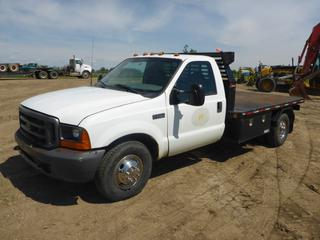 2000 Ford F-350 XL Flat Deck Truck c/w Diesel, 5 Speed, Showing 315,070 KMS, 11' Deck, Hidden 5th Wheel Receiver, Storage Boxes, Rear Hitch Receiver, VIN 1FDWF36F61EC92415