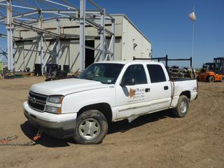 2006 Chevrolet Silverado 4X4 Crew Cab, c/w Vortec 4.8L, A/T, A/C, Gas, Reese Brake Control, 245/75R16 Tires At 5%, VIN 2GCEK13V361246700 *NOTE: No Start, Running when parked, Drivers Door Handle Broken, L Door Interior Dismantled*