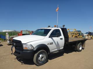 "2013 Dodge Ram 5500 HD 4X4 Flat Deck Truck c/w 6.7L Cummins Turbo, Diesel, A/T, A/C, Showing 116,956 KMS, 12,378 Hours, GVWR 8,846 KG, 168"" W/B, 12' x 7'8"" Deck, 225/70R19.5 Tires At 80%, Front Axle Rating 3,176 KG, Rear Axle Rating 6,124 KG, VIN 3C7WRNBL7DG515568"