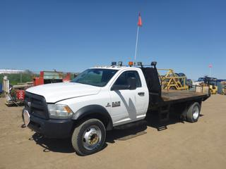 "2014 Dodge Ram 5500 4X4 Flat Deck Truck c/w 6.7L  Cummins Turbo, Diesel, A/T, A/C, Showing 162,716 KMS, 11,904 Hours, GVWR 8,846 KG, 192"" W/B, 13'4"" x 7'8"" Deck, 225/70R19.5 Tires At 50%, Rears 70%, Front Axle Rating 3,176 KG, Rear Axle Rating 6,124 KG, VIN 3C7WRNCL5EG137038"