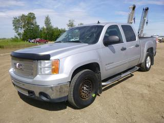 "2011 GMC Sierra SLE 4X4 Crew Cab c/w 6.0L Vortec, A/C, Showing 268,447 KMS, GVWR 3,175KG, 140 W/B"", 265/70R17 Tires, 3,950KG Axle Rating, Flex Fuel, Linex Box Liner, VIN 3GTP2VE35BG399057"