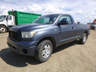 "2007 Toyota Tundra, c/w I Force V8 4.7L, 2WD, Showing 156,153 KMS, GVWR 3,080KG, 147"" W/B, 275/65R18 Tires, Front Axle 1,765KG, Rear Axle 1,835KG, VIN 5TFLT52107X015977 *NOTE: Power Steering Not Working, 1 Gas Shock On Hood Broken*"