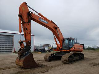 "2013 Doosan DX480LC Excavator c/w A/C Cab, 60"" Dig Bucket, Showing 7,288 Hours, Hyd Q/C, Adjustable Under Carriage With New Sprokets And Rollers, Hydraulic Counter Weight Removed, Positive Air Shut Off, SN DWGCECAFHC1010125 *Located In Lloydminster, AB, Contact Connor For More Details 780-218-4493*"